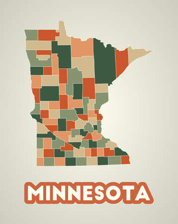 Minnesota poster in retro style. Map of the us state with regions in autumn color palette. Shape of Minnesota with us state name. Charming vector illustration.