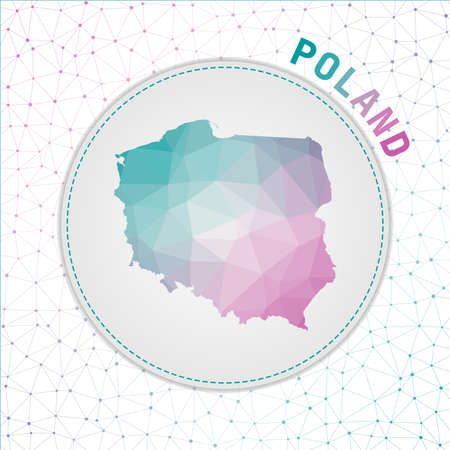 Vector polygonal Poland map. Map of the country with network mesh background. Poland illustration in technology, internet, network, telecommunication concept style . Vibrant vector illustration.