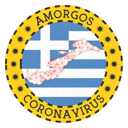 Coronavirus in Amorgos sign. Round badge with shape of Amorgos. Yellow island lock down emblem with title and virus signs. Vector illustration. Archivio Fotografico - 147739048