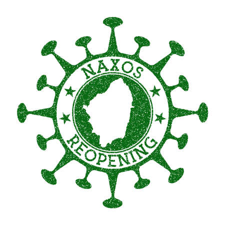 Naxos Reopening Stamp. Green round badge of island with map of Naxos. Island opening after lockdown. Vector illustration. Vettoriali