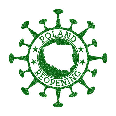 Poland Reopening Stamp. Green round badge of country with map of Poland. Country opening after lockdown. Vector illustration. Vektoros illusztráció