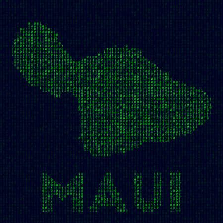 Digital Maui logo. Island symbol in hacker style. Binary code map of Maui with island name. Neat vector illustration.