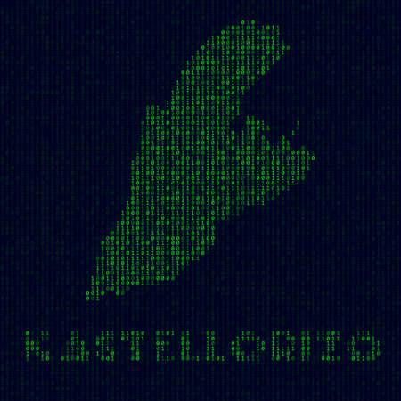 Digital Kastellorizo logo. Island symbol in hacker style. Binary code map of Kastellorizo with island name. Astonishing vector illustration. Archivio Fotografico - 147739164