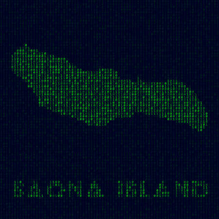 Digital Saona Island logo. Island symbol in hacker style. Binary code map of Saona Island with island name. Superb vector illustration.