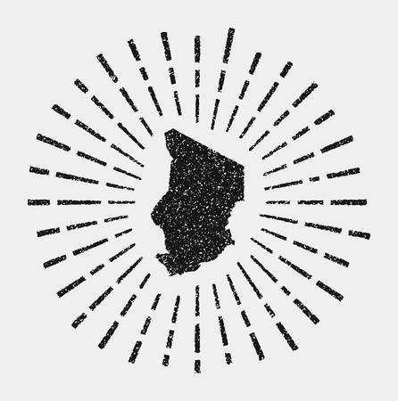 Vintage map of Chad. Grunge sunburst around the country. Black Chad shape with sun rays on white background. Vector illustration. Vetores