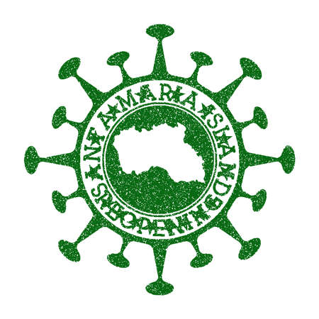 Santa Maria Island Reopening Stamp. Green round badge of island with map of Santa Maria Island. Island opening after lockdown. Vector illustration. 矢量图像