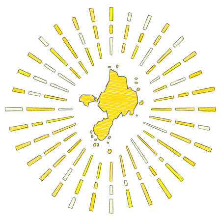 Sketch map of Sark. Sunburst around the island in flag colors. Hand drawn Sark shape with sun rays on white background. Vector illustration.