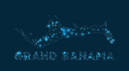 Grand Bahama network map. Abstract geometric map of the island. Internet connections and telecommunication design. Artistic vector illustration. Illusztráció