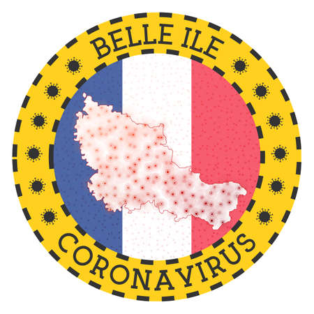 Coronavirus in Belle Ile sign. Round badge with shape of Belle Ile. Yellow island lock down emblem with title and virus signs. Vector illustration.