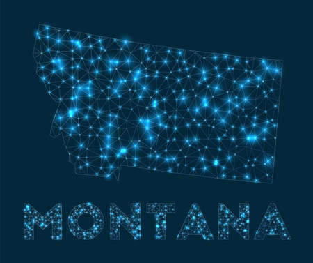 Montana network map. Abstract geometric map of the us state. Internet connections and telecommunication design. Amazing vector illustration.
