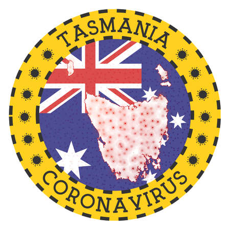 Coronavirus in Tasmania sign. Round badge with shape of Tasmania. Yellow island lock down emblem with title and virus signs. Vector illustration.