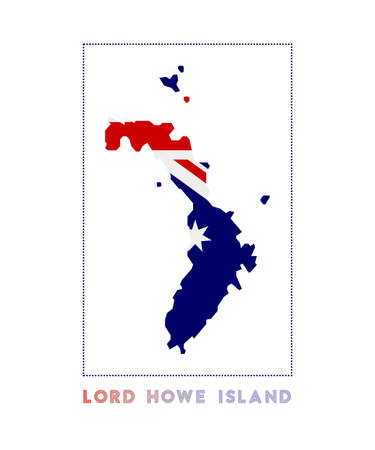 Lord Howe Island Logo. Map of Lord Howe Island with island name and flag. Radiant vector illustration.