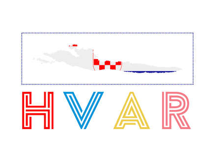 Hvar Logo. Map of Hvar with island name and flag. Trendy vector illustration.