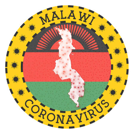 Coronavirus in Malawi sign. Round badge with shape of Malawi. Yellow country lock down emblem with title and virus signs. Vector illustration.