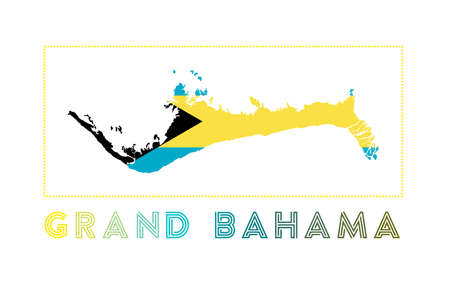 Grand Bahama Logo. Map of Grand Bahama with island name and flag. Creative vector illustration.