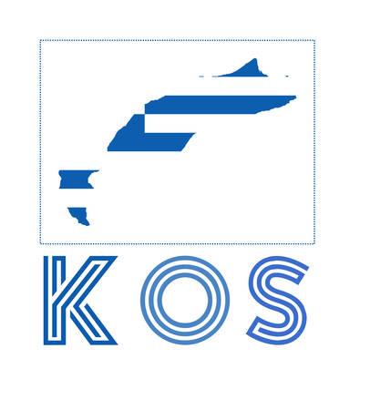 Kos Logo. Map of Kos with island name and flag. Vibrant vector illustration.