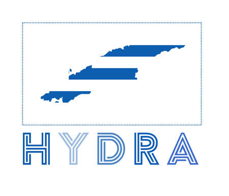 Hydra Logo. Map of Hydra with island name and flag. Amazing vector illustration.