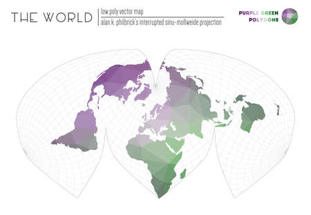 Triangular mesh of the world. Alan K. Philbrick's interrupted sinu-Mollweide projection of the world. Purple Green colored polygons. Stylish vector illustration. Ilustracja