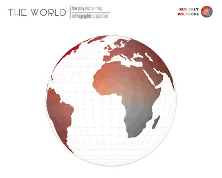 World map with vibrant triangles. Orthographic projection of the world. Red Grey colored polygons. Creative vector illustration.
