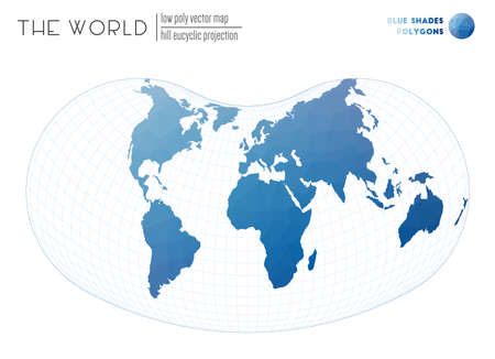 World map in polygonal style. Hill eucyclic projection of the world. Blue Shades colored polygons. Neat vector illustration.