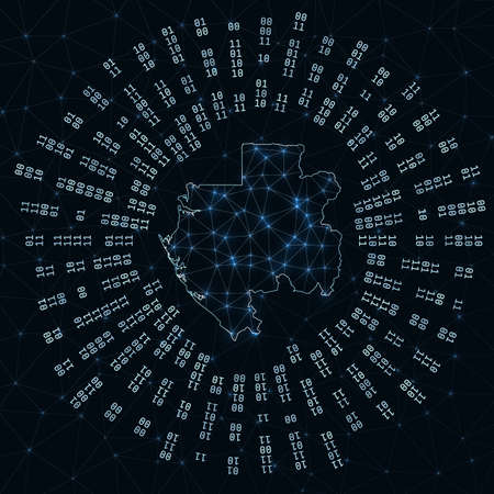 Gabon digital map. Binary rays radiating around glowing country. Internet connections and data exchange design. Vector illutration. Ilustracja