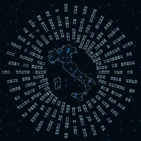 Italy digital map. Binary rays radiating around glowing country. Internet connections and data exchange design. Vector illutration. Zdjęcie Seryjne - 147740408