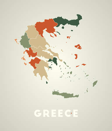 Greece poster in retro style. Map of the country with regions in autumn color palette. Shape of Greece with country name. Astonishing vector illustration.