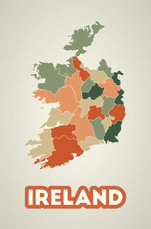 Ireland poster in retro style. Map of the country with regions in autumn color palette. Shape of Ireland with country name. Elegant vector illustration.