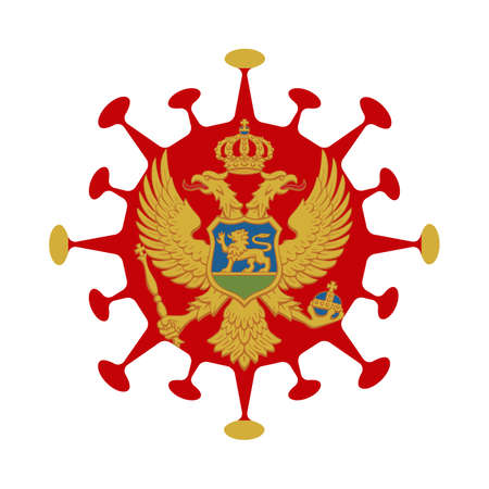 Flag of Montenegro in virus shape. Country sign. Vector illustration.
