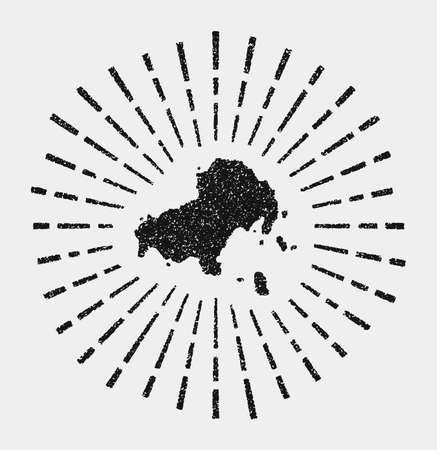 Vintage map of Skiathos. Grunge sunburst around the island. Black Skiathos shape with sun rays on white background. Vector illustration.