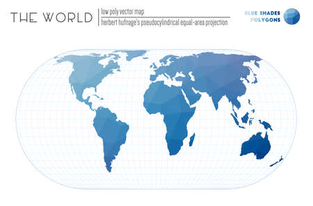 Vector map of the world. Herbert Hufnage's pseudocylindrical equal-area projection of the world. Blue Shades colored polygons. Trending vector illustration. Zdjęcie Seryjne - 147740555