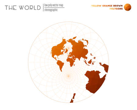 Triangular mesh of the world. Stereographic of the world. Yellow Orange Brown colored polygons. Modern vector illustration.