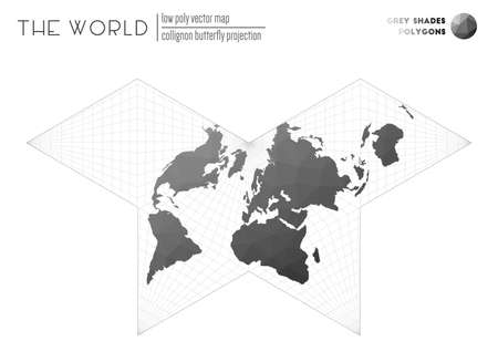 Vector map of the world. Collignon butterfly projection of the world. Grey Shades colored polygons. Energetic vector illustration. Zdjęcie Seryjne - 147740557
