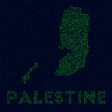Digital Palestine logo. Country symbol in hacker style. Binary code map of Palestine with country name. Attractive vector illustration. Ilustracja