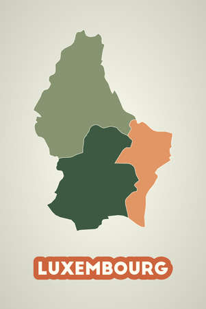 Luxembourg poster in retro style. Map of the country with regions in autumn color palette. Shape of Luxembourg with country name. Cool vector illustration.
