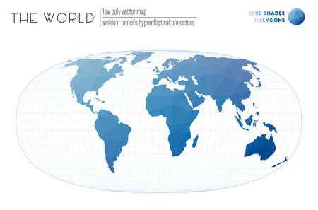 Polygonal world map. Waldo R. Tobler's hyperelliptical projection of the world. Blue Shades colored polygons. Creative vector illustration. Zdjęcie Seryjne - 147740597
