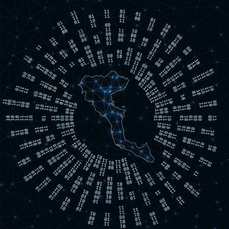 Corfu digital map. Binary rays radiating around glowing island. Internet connections and data exchange design. Vector illutration.