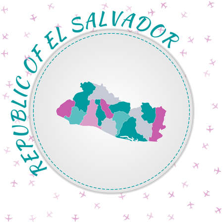 Republic of El Salvador map design. Map of the country with regions in emerald-amethyst color palette. Rounded travel to Republic of El Salvador poster with country name and airplanes background.