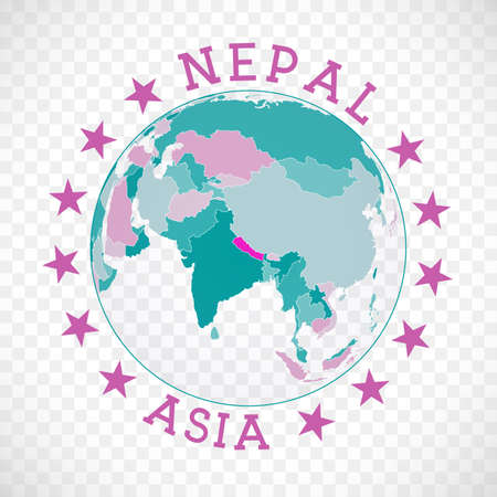 Nepal round logo. Badge of country with map of Nepal in world context. Country sticker stamp with globe map and round text. Amazing vector illustration.