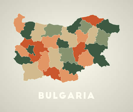 Bulgaria poster in retro style. Map of the country with regions in autumn color palette. Shape of Bulgaria with country name. Amazing vector illustration.