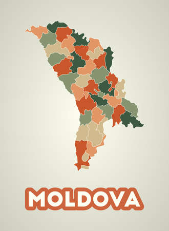 Moldova poster in retro style. Map of the country with regions in autumn color palette. Shape of Moldova with country name. Modern vector illustration.