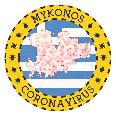 Coronavirus in Mykonos sign. Round badge with shape of Mykonos. Yellow island lock down emblem with title and virus signs. Vector illustration.