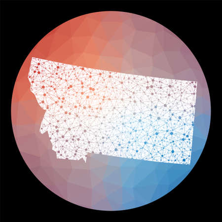 Vector network Montana map. Map of the us state with low poly background. Rounded Montana illustration in technology, internet, network, telecommunication concept style.