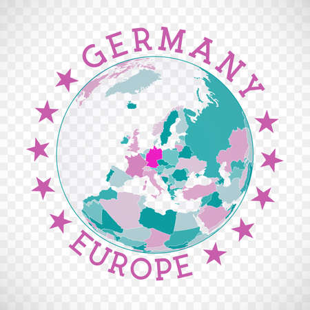 Germany round logo. Badge of country with map of Germany in world context. Country sticker stamp with globe map and round text. Modern vector illustration.