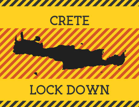 Crete Lock Down Sign. Yellow island pandemic danger icon. Vector illustration. Archivio Fotografico - 147813919