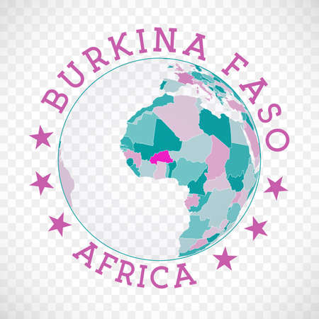 Burkina Faso round logo. Badge of country with map of Burkina Faso in world context. Country sticker stamp with globe map and round text. Elegant vector illustration.