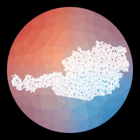 Vector network Austria map. Map of the country with low poly background. Rounded Austria illustration in technology, internet, network, telecommunication concept style . Neat vector illustration. Vectores