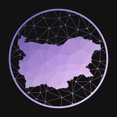 Bulgaria icon. Vector polygonal map of the country. Bulgaria icon in geometric style. The country map with purple low poly gradient on dark background.