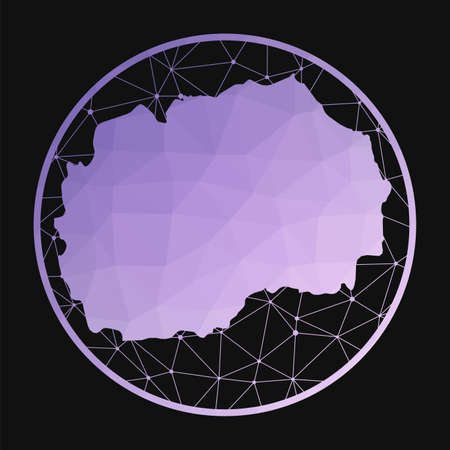 Macedonia icon. Vector polygonal map of the country. Macedonia icon in geometric style. The country map with purple low poly gradient on dark background. Vectores