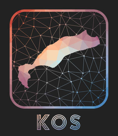 Kos map design. Vector low poly map of the island. Kos icon in geometric style. The island shape with polygnal gradient and mesh on dark background.